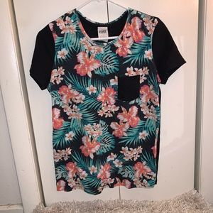 Floral and Black Victoria's Secret PINK Tee Shirt